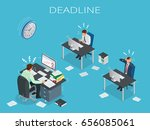 deadline concept of overworked... | Shutterstock .eps vector #656085061