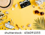 flat lay traveler accessories... | Shutterstock . vector #656091055