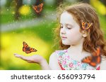 beautiful curly girl with a... | Shutterstock . vector #656093794