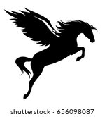 jumping pegasus   winged horse... | Shutterstock .eps vector #656098087