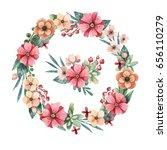 delicate watercolor wreath with ... | Shutterstock . vector #656110279