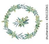 delicate watercolor wreath with ... | Shutterstock . vector #656112061