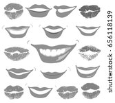 lovely smiles   collection grey ... | Shutterstock . vector #656118139