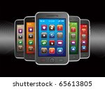 Black mobile smart phones. No trademark issues because this is my own design. This is a detailed 3D render. - stock photo
