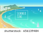 hawaii ocean bay blue water... | Shutterstock .eps vector #656139484