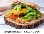 cheeseburger beef on ciabatta   Shutterstock . vector #656142145