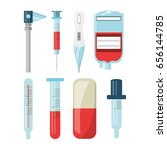 set of first aid kit with... | Shutterstock .eps vector #656144785