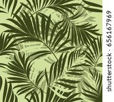 pattern of palm tropical leaves.... | Shutterstock .eps vector #656167969