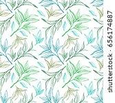 tea leaves seamless pattern.... | Shutterstock . vector #656174887
