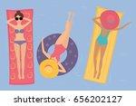 women in hats and bikinis...   Shutterstock .eps vector #656202127