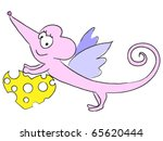 cute flying rat with cheese... | Shutterstock .eps vector #65620444