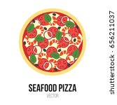 seafood pizza with tomato ... | Shutterstock .eps vector #656211037