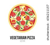vegetarian pizza with tomato ... | Shutterstock .eps vector #656211157