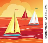 sails in sea. vector... | Shutterstock .eps vector #656213491