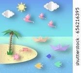 summer origami sea art applique.... | Shutterstock .eps vector #656216395