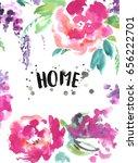 watercolor flower postcard. | Shutterstock . vector #656222701