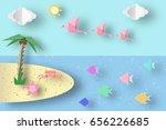 summer origami fun art applique.... | Shutterstock .eps vector #656226685