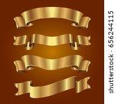 set of golden ribbons on brown...   Shutterstock .eps vector #656244115