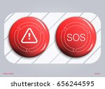 red alarm shiny button... | Shutterstock .eps vector #656244595