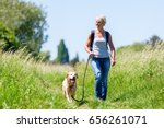 Stock photo mature woman with rucksack hiking with a dog in the summer landscape 656261071