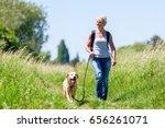 mature woman with rucksack... | Shutterstock . vector #656261071