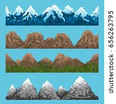 a set of pixel mountain chains... | Shutterstock .eps vector #656263795