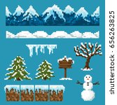 a set of pixel elements for... | Shutterstock .eps vector #656263825