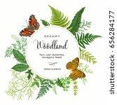 summer vintage card. leaves of... | Shutterstock .eps vector #656284177