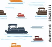 editable pontoon boat vector... | Shutterstock .eps vector #656285851