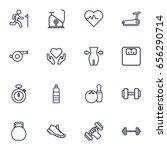 set of 16 bodybuilding outline... | Shutterstock .eps vector #656290714
