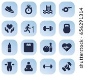 set of 16 fitness icons set... | Shutterstock .eps vector #656291314