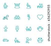 set of 16 family outline icons... | Shutterstock .eps vector #656292955