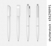 realistic vector white pen icon ...