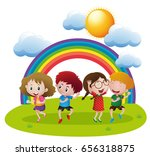 happy children dancing in... | Shutterstock .eps vector #656318875