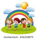 happy children dancing in... | Shutterstock .eps vector #656318875