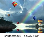 the beautiful view of a rainbow ... | Shutterstock . vector #656324134