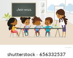 group of african american kids... | Shutterstock .eps vector #656332537