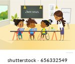 disabled african american girl... | Shutterstock .eps vector #656332549