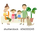 family to relax on sofa | Shutterstock .eps vector #656333245