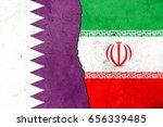 little crack. flags  qatar  iran   Shutterstock . vector #656339485