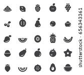 fruits icons black edition | Shutterstock .eps vector #656343361