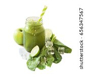 green smoothie isolated on the... | Shutterstock . vector #656347567