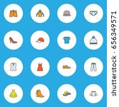 dress colorful outline icons... | Shutterstock .eps vector #656349571