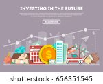 Investing in the future vector illustration. Flat line design concept for smart investment, finance and banking, commercial real estate, strategic management, financial analysis and planning template | Shutterstock vector #656351545