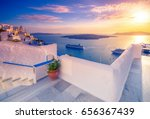 amazing evening view of fira ... | Shutterstock . vector #656367439