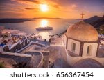 amazing evening view of fira ... | Shutterstock . vector #656367454