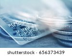 double exposure rows of coins... | Shutterstock . vector #656373439