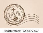 paris mail stamp. old faded... | Shutterstock . vector #656377567