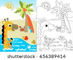 giraffe and little friends in... | Shutterstock .eps vector #656389414