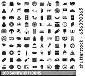100 sandwich icons set in... | Shutterstock .eps vector #656390365
